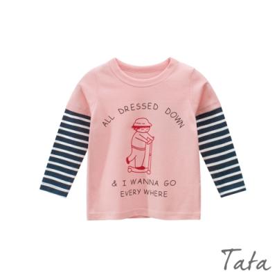童裝 拼接條紋袖卡通印花上衣 TATA KIDS