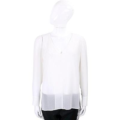 MARELLA 半透膚不規則設計白色雪紡上衣