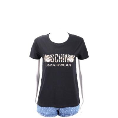 MOSCHINO Underwear 泰迪熊豹紋LOGO黑色棉質T恤