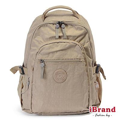 iBrand後背包 簡約素色超輕盈尼龍口袋後背包-卡其色
