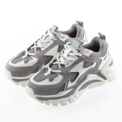 Camille's 韓國空運-正韓製-牛麂皮拼接厚底休閒運動老爹鞋-灰色