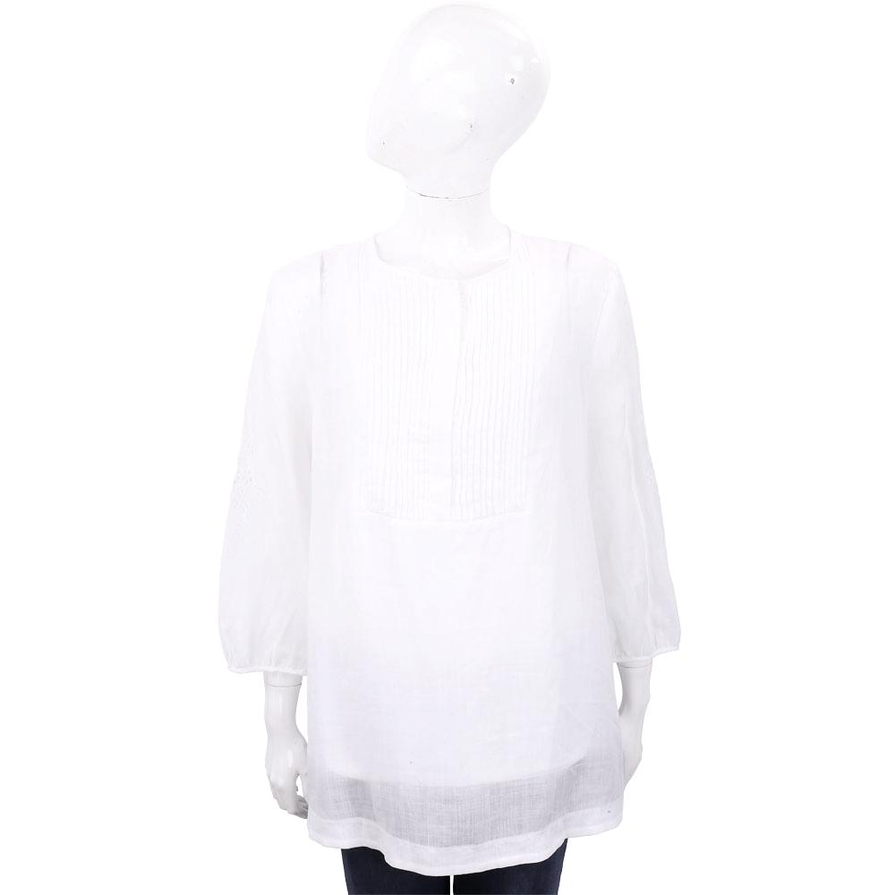 Max Mara 附內搭背心 白色抓褶膨袖棉麻上衣