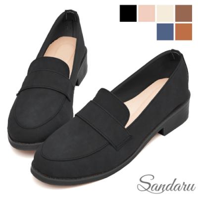 山打努SANDARU- 大尺碼鞋 紳士鞋 全素面磨砂皮革低跟鞋-黑