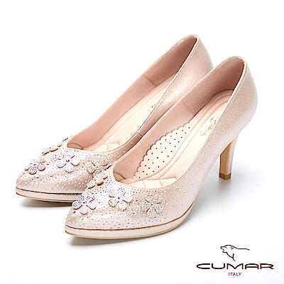 CUMAR璀璨閃耀-立體花卉水鑽點綴防水台高跟鞋