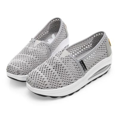 PLAYBOY 透氣縷空氣墊休閒鞋-灰-Y527222