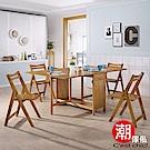 Cest Chic-微笑山丘實木蝴蝶餐桌椅180cm(一桌四椅)免安裝