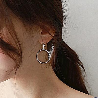 梨花HaNA 韓國S925銀針簡約圓圈防過敏氣質耳環