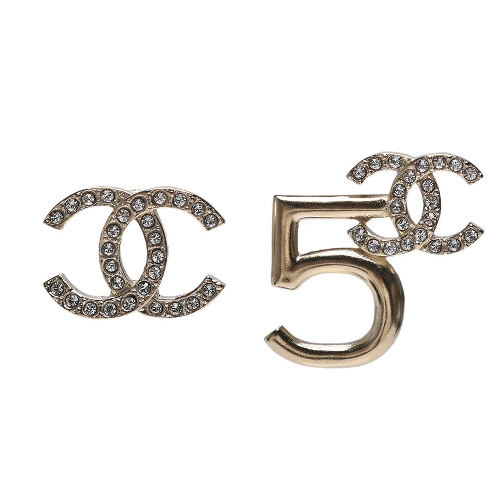 CHANEL 經典雙C LOGO NO.5不對襯造型穿式耳環(金)