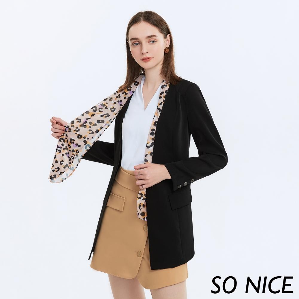 SO NICE都會修身豹紋領巾西裝外套
