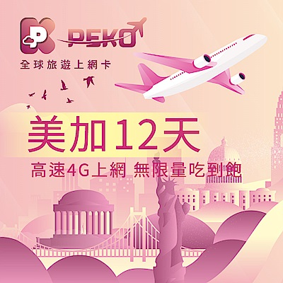 【PEKO】美加上網卡 美國 加拿大 網卡 sim卡 12日高速4G上網 無限量吃到飽