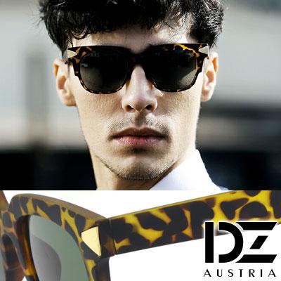 DZ 復古潮流金三角釘 抗UV太陽眼鏡造型墨鏡(霧透黃豹)