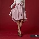【KiKi】浪漫綁帶波浪-及膝裙(粉色)