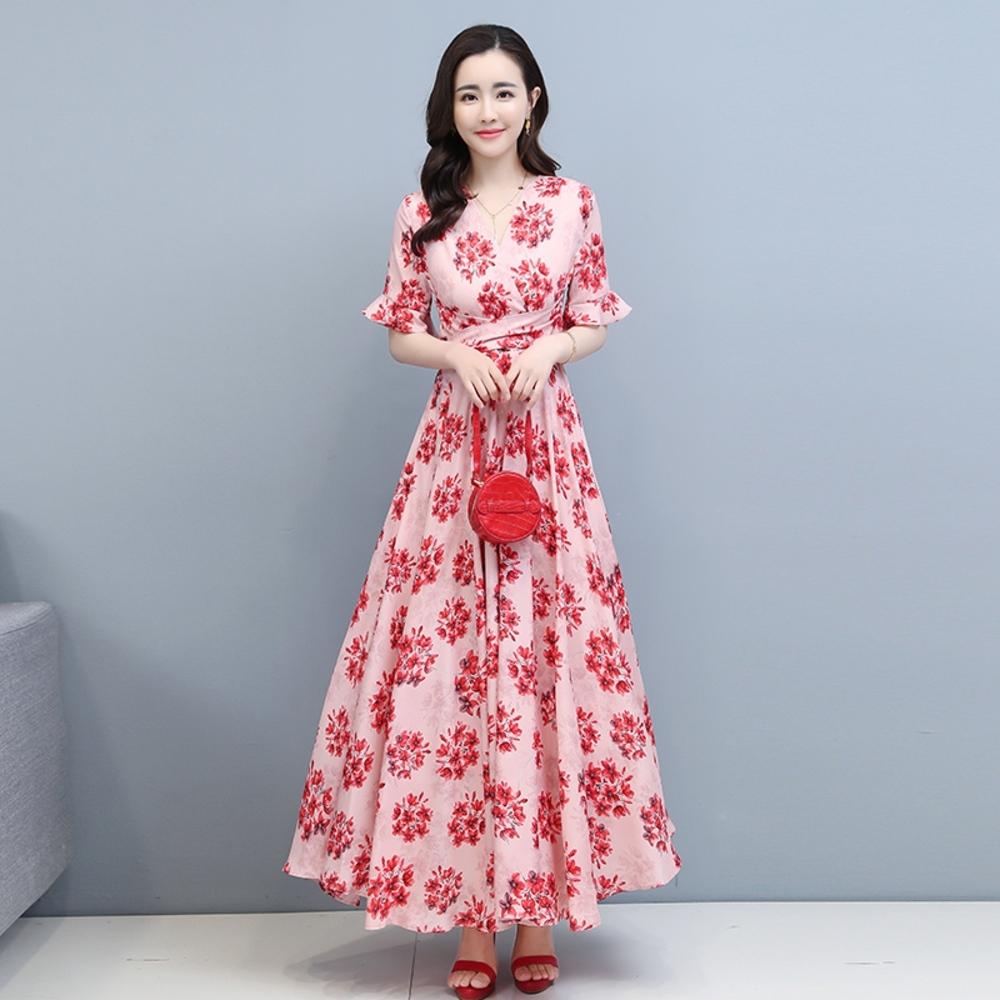 優雅紅粉花簇綁帶收腰大裙襬長洋裝M-3XL-REKO