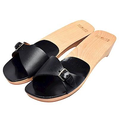 HERMES 小牛皮木質低跟露指拖鞋(黑-37)