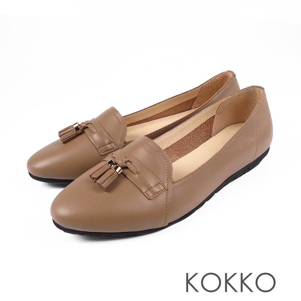 KOKKO - 與長夜共舞小流蘇柔軟樂福鞋-肉桂棕