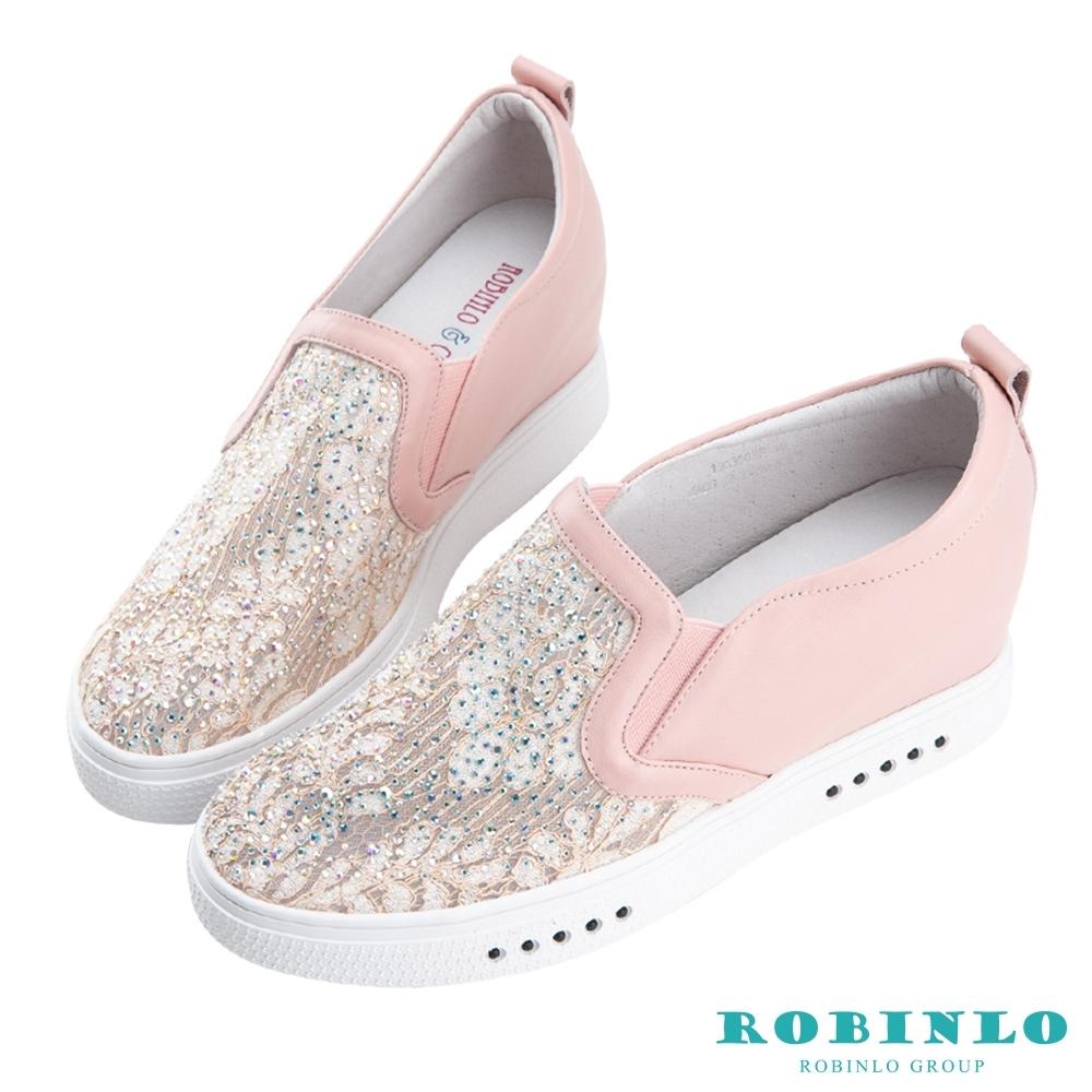 Robinlo 微透性感鑲鑽蕾絲內增高牛皮休閒鞋 粉色