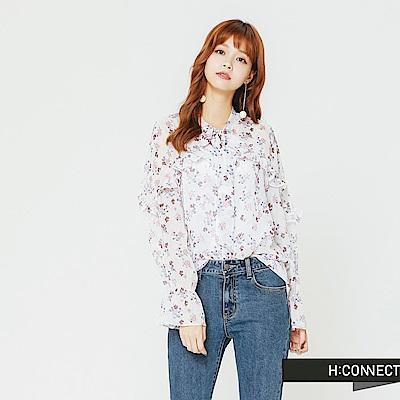 H:CONNECT 韓國品牌 女裝-小花綁帶微透膚上衣-白
