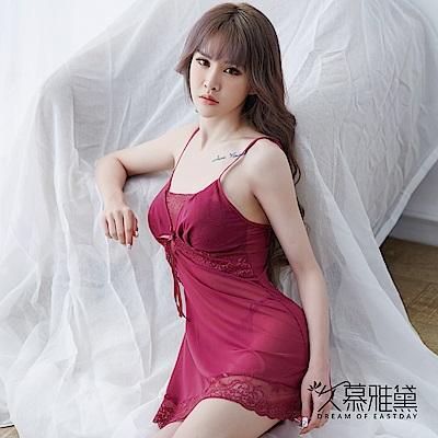性感睡衣 優雅蕾絲輕柔絲滑睡裙。紫色 久慕雅黛