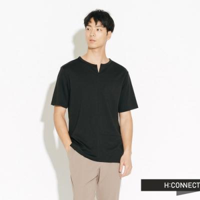 H:CONNECT 韓國品牌 男裝-縫線設計素面短T-黑