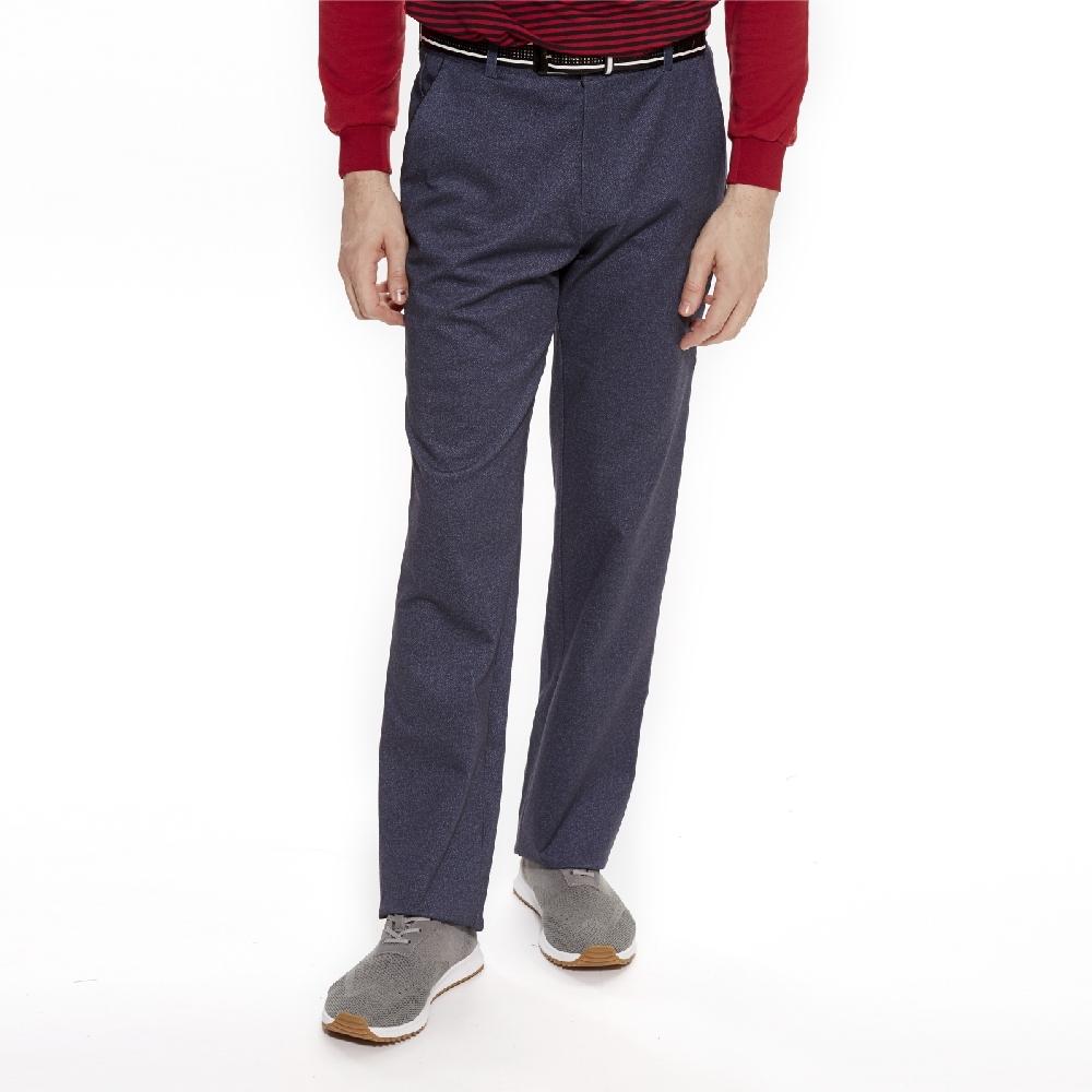 【Lynx Golf】男款彈性舒適素面平口休閒長褲-藍色