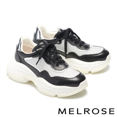 休閒鞋 MELROSE 時尚老爹風異材質拼接綁帶厚底休閒鞋-黑
