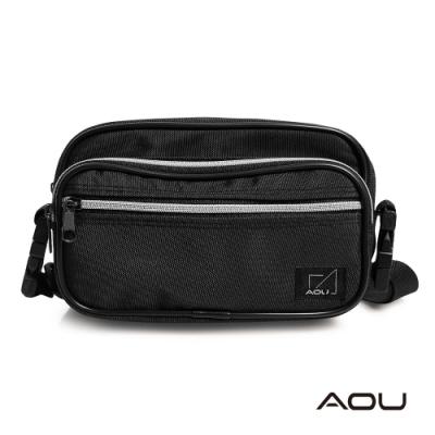 AOU 台灣製造 四層兩用旅行側包 生意腰包 輕量防潑水多層耐重包 腰包 側背包(黑色)03-026B