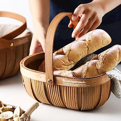 Homely Zakka 木趣食光日式木片手提藤編收納籃/野餐籃/麵包籃