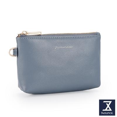 74盎司 Elegant-C真皮手掛拉鍊零錢包[LN-770-EL-W]藍灰