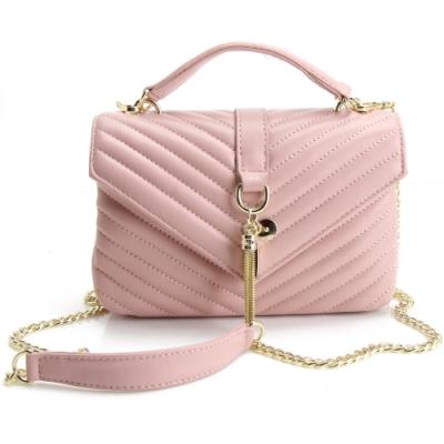 MOROM 優雅V型紋羊皮墜飾二用包-粉色