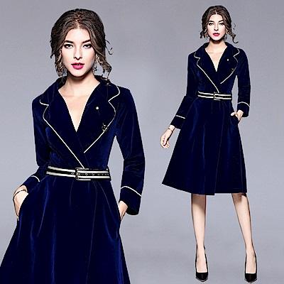 高貴藍西裝V字翻領腰帶風衣式洋裝連身裙M-2XL-M2M