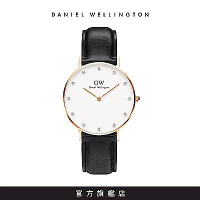 DW 手錶 官方旗艦店 34mm玫瑰金框 Classy 爵士黑真皮鑽石錶