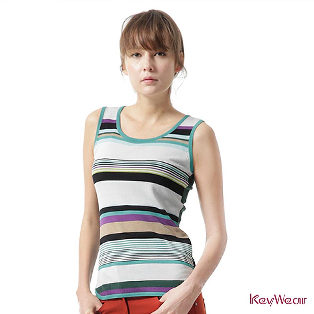 KeyWear奇威名品    變化條紋都會休閒無袖針織上衣-藍綠色