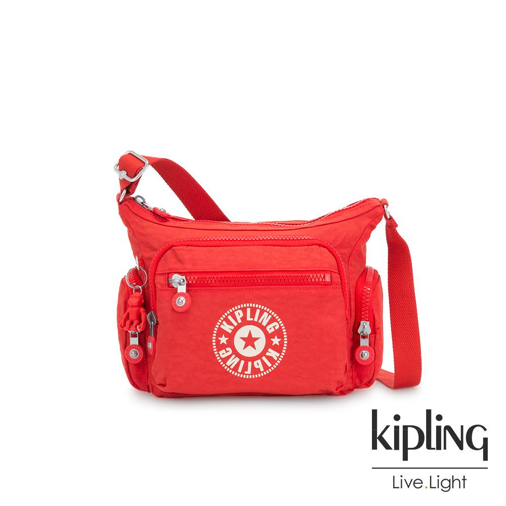 Kipling 致敬經典復古暖陽紅多袋實用側背包-GABBIE S