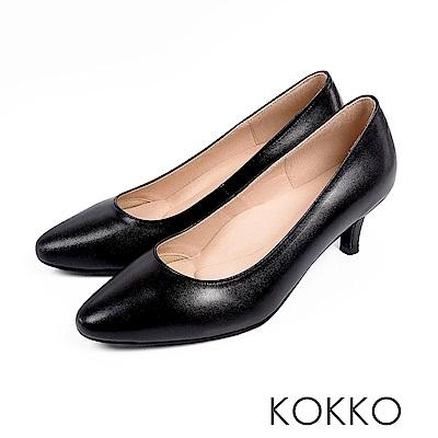 KOKKO - 理想生活羊皮圓頭素面中跟鞋 - 質感黑