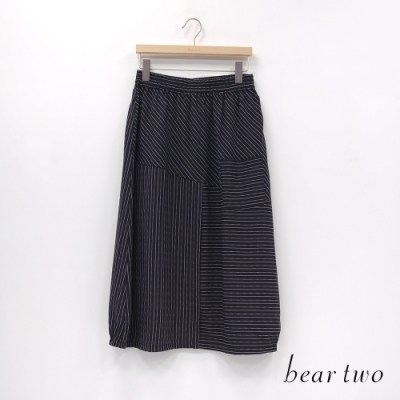 bear two- 條紋拼接直筒寬裙 - 黑