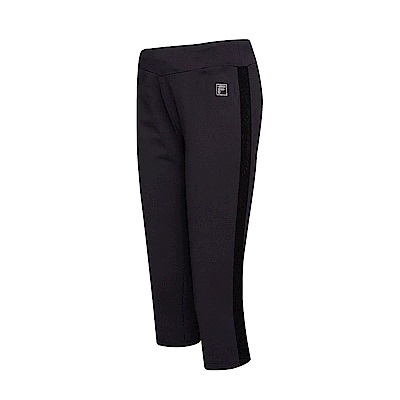 FILA 女款萊卡針織七分褲-黑色 5PNT-1606-BK