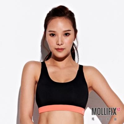 Mollifix 瑪莉菲絲 小交叉美背運動內衣 (黑+橘粉)