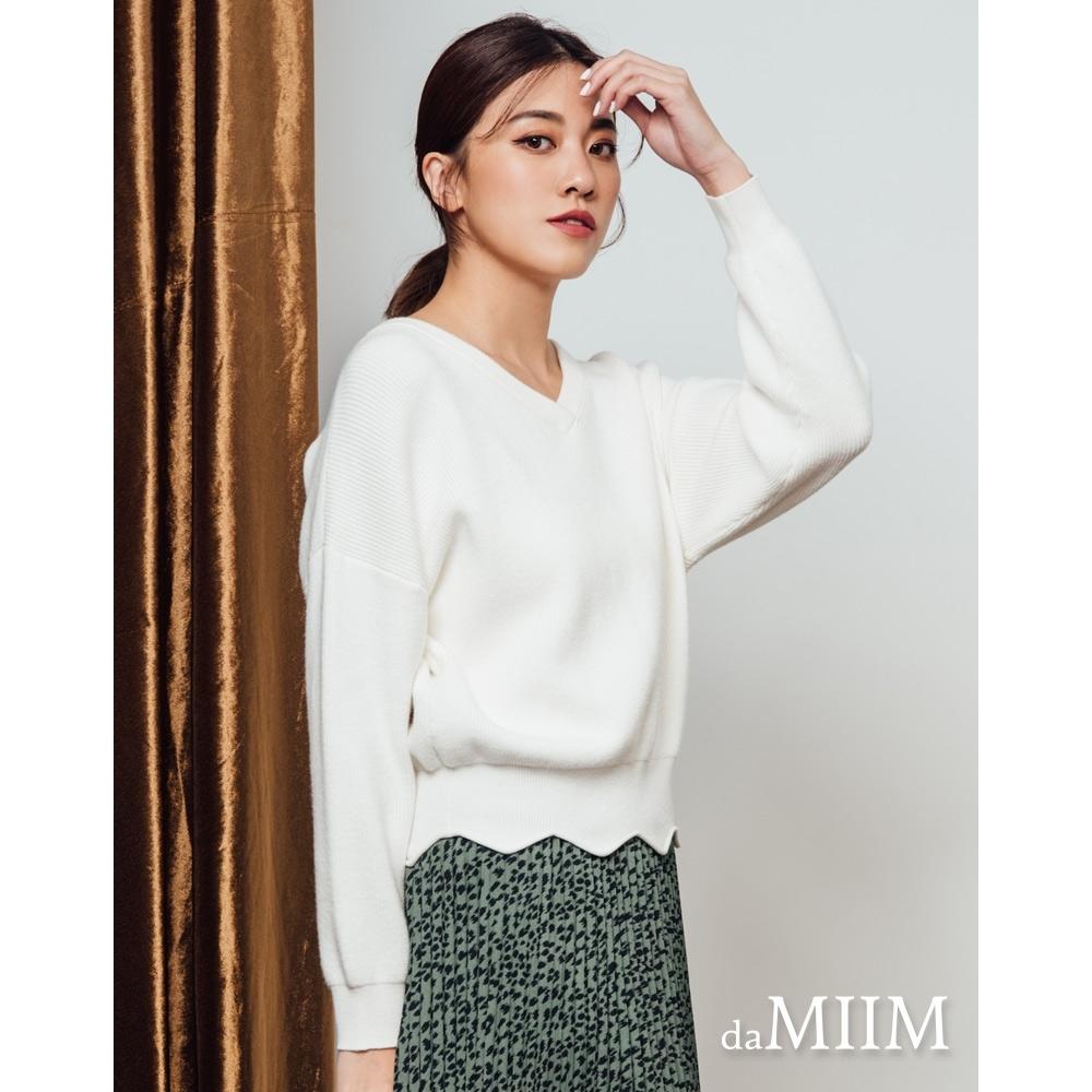 daMIIM兔絨紗V領短版針織上衣-二色-米白色