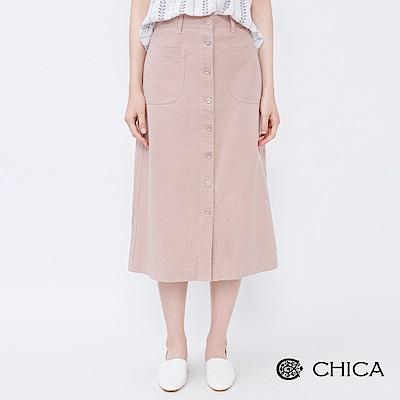 CHICA 清新好感排釦A字口袋中長裙(2色)