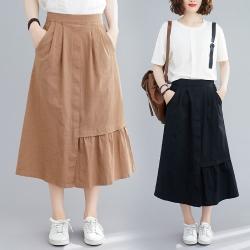 韓版純色設計感下擺半身裙F-(共二色)-KEER