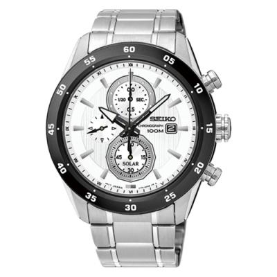SEIKO 精工Criteria 三眼太陽能鋼帶腕錶-銀白(SSC535P1)