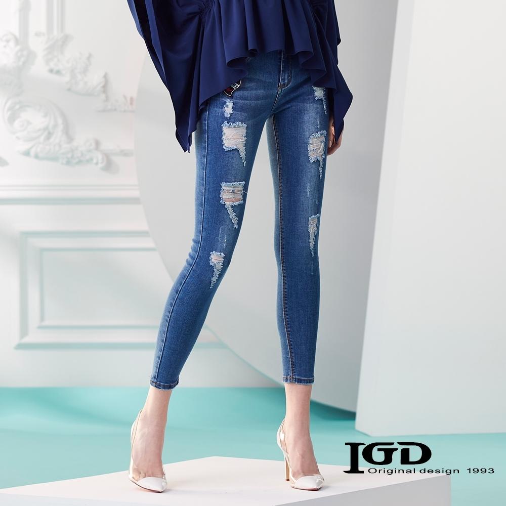 IGD英格麗 破壞緊身牛仔褲-牛仔藍