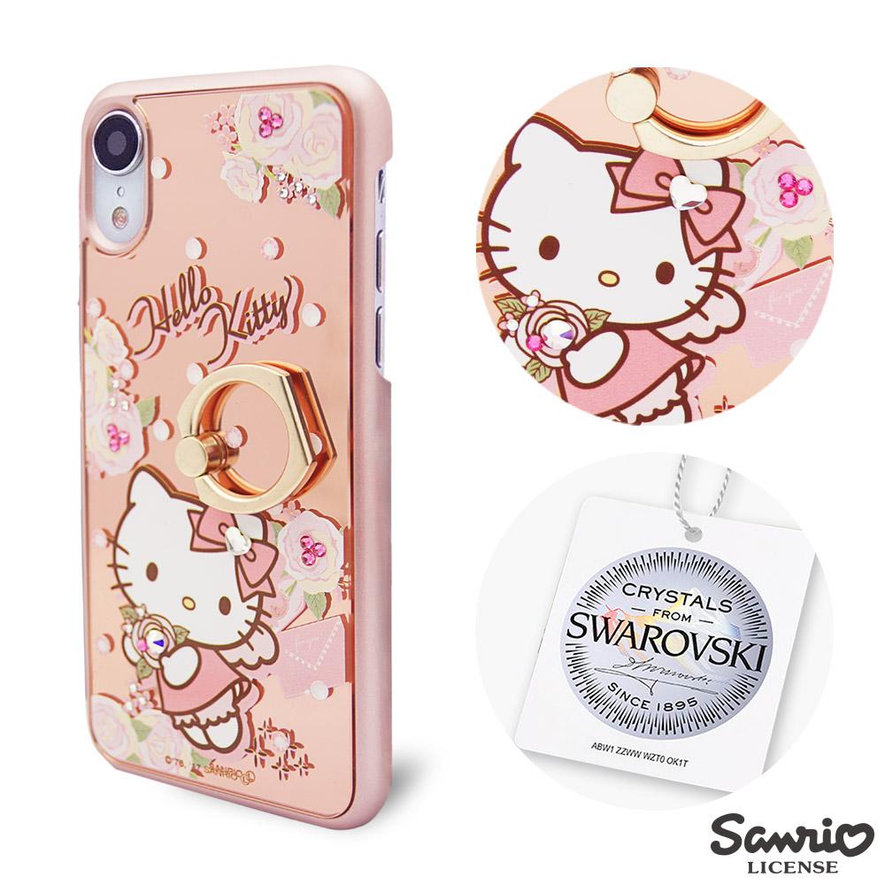 三麗鷗 Kitty iPhone XR 6.1吋施華彩鑽鏡面指環扣手機殼-天使凱蒂