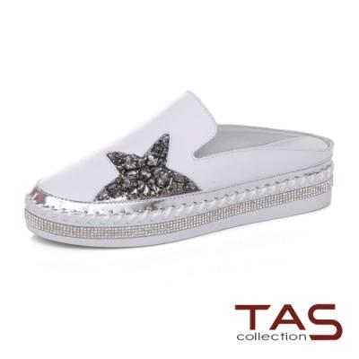 TAS閃耀水鑽星星牛皮穆勒鞋-閃耀白