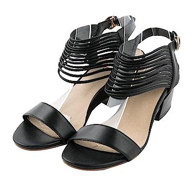 BESO 率性風情 知性一字帶縷空粗跟涼鞋~黑