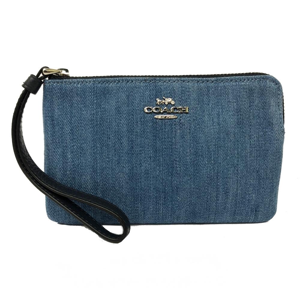 COACH 新款牛仔布手拿包零錢包(牛仔藍)