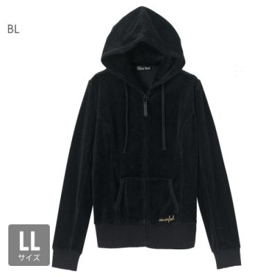 aimerfeel 素色絲絨運動服連帽上衣-黑色-840274-BL