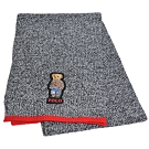 RALPH LAUREN POLO 小熊LOGO刺繡混羊毛圍巾(灰黑色)