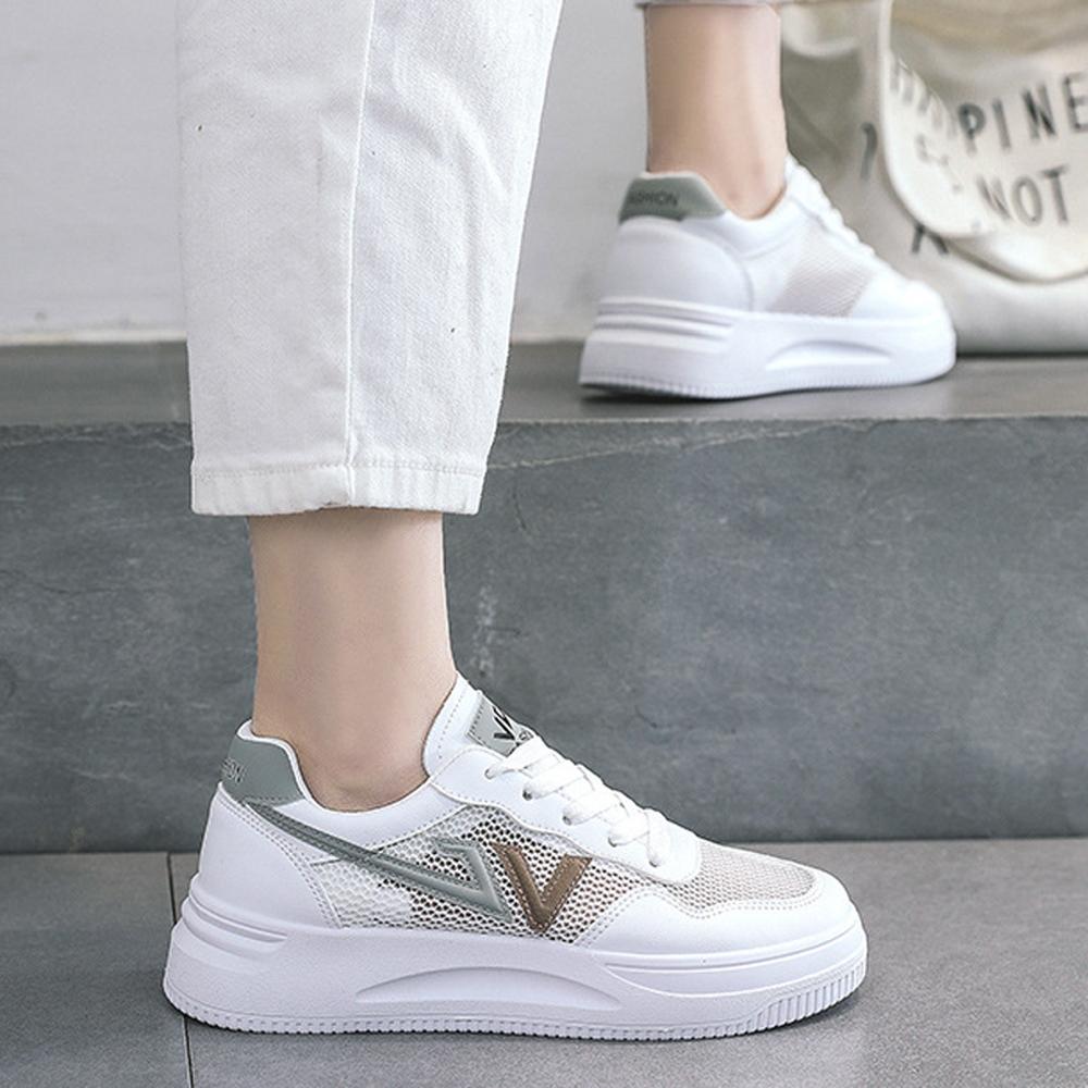 LN  現+預 韓版透氣網面厚底小白鞋(休閒鞋/平板鞋) (灰色)