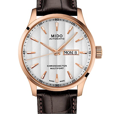 MIDO 美度 MULTIFORT先鋒80系列 天文台腕錶-玫瑰金皮帶42mm